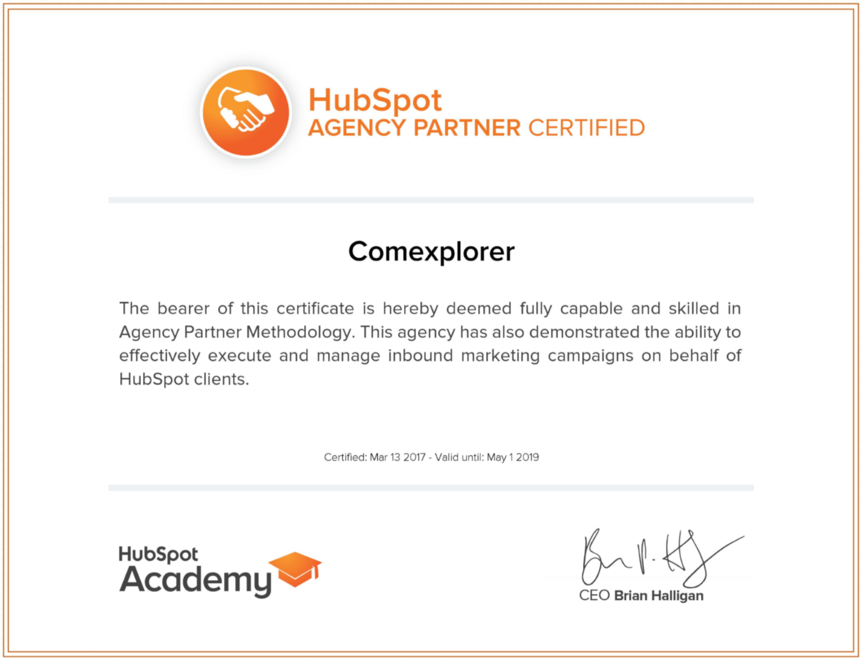 Certification Hubspot Partner ComExplorer